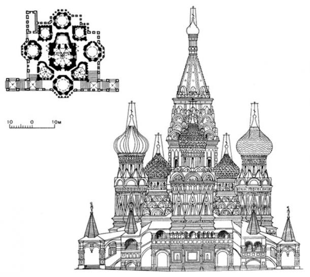 Front elevation drawing of the cathedral's façade and overhead view of floor plan. (KDS4444 / CC BY-SA 2.0)