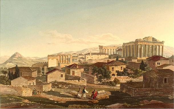 West Front of the Parthenon (1821) by Edward Dodwell.