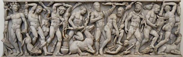 Front panel from a sarcophagus with the Labours of Heracles: from left to right, the Nemean Lion, the Lernaean Hydra, the Erymanthian Boar, the Ceryneian Hind, the Stymphalian birds, the Girdle of Hippolyta, the Augean stables, the Cretan Bull and the Mares of Diomedes. Luni marble, Roman artwork from the middle 3rd century AD. National Museum of Rome