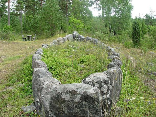 Front view of Tjelvar burial site, Island of Gotland, Sweden.