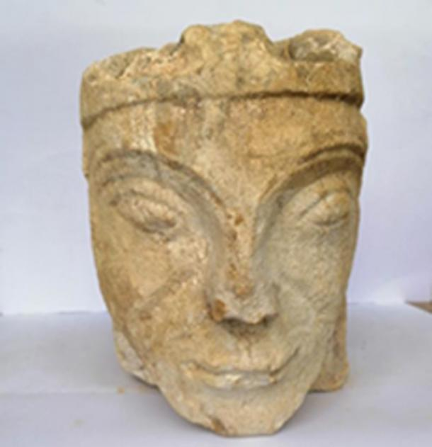 Front view of the stone carving of Eleanor of Aquitaine that was discovered. (Milton Keynes Council)