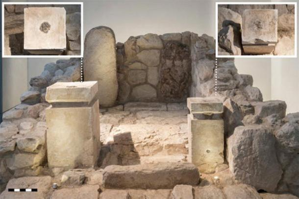 Frontal view of the cella of the shrine at Arad, as rebuilt in the Israel Museum from the original archaeological finds. The inserts show a top−down view of the altars: on the left, the larger altar; on the right, the smaller altar. Note the visible black residue. (Collection of the Israel Antiquities Authority/The Israel Museum, by Laura Lachman)