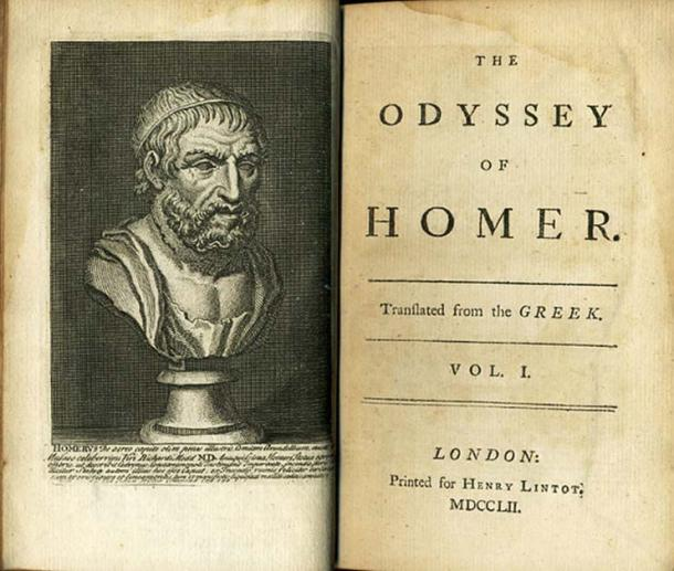 Frontispiece and Titlepage of a 1752 edition of Alexander's Pope's translation of The Odyssey.