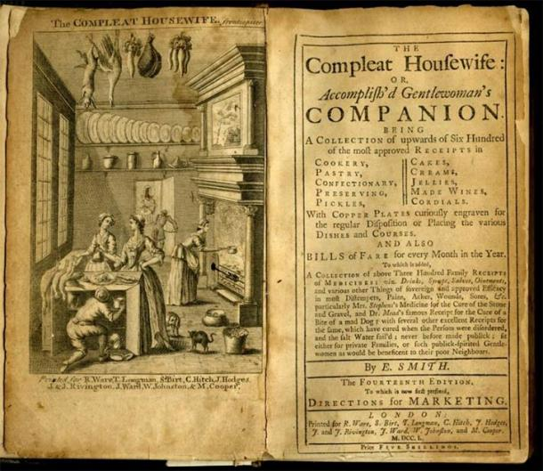 Frontispiece and Title Page of The Compleat Housewife or Accomplish'd Gentlewoman's Companion by Eliza Smith. 14th Edition, 1750. (First published 1727). (Public Domain)