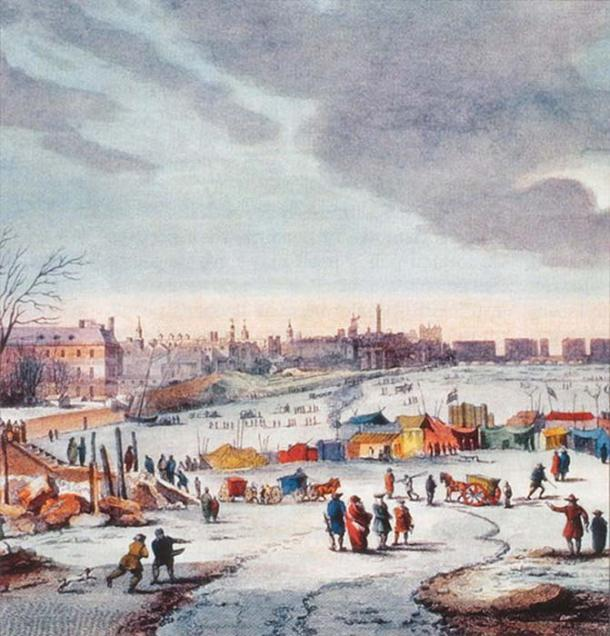 Frost Fair on the River Thames near the Temple Stairs. (Szilas / Public Domain)