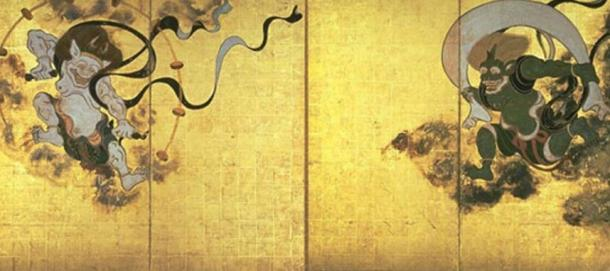 Fūjin-raijin-zu by Tawaraya Sōtatsu. The gods who were believed to have protected Japan with typhoons were Raijin, left, and Fujin, right.