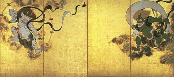 Fūjin-raijin-zu by Tawaraya Sōtatsu, with Raijin shown on the left and Fūjin right. (Public Domain)