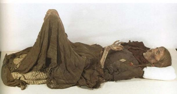 Full length image of a Tarim mummy.