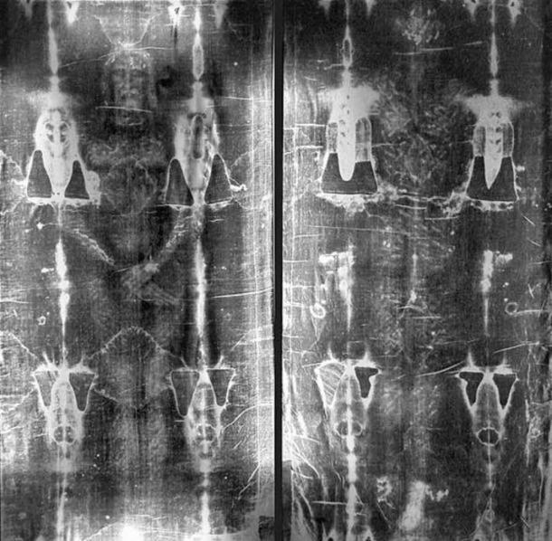 Full length negatives of the Shroud of Turin.