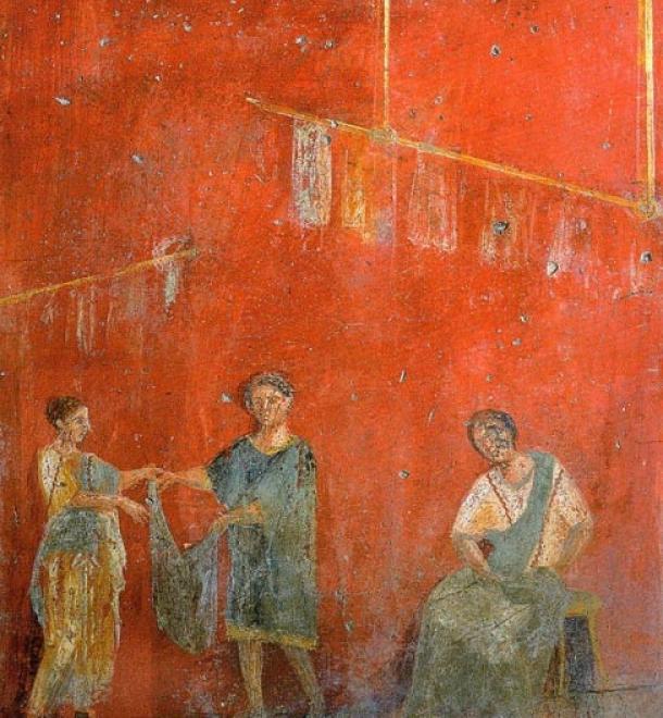 Fullonica (Dyer's Shop) of Veranius Hypsaeus, fresco from Pompeii