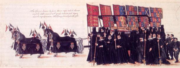 Funeral of Elizabeth I of England. The casket of the queen is accompanied by mourners bearing the heraldic banners of her ancestors' coats of arms marshalled (side-by-side) with the arms of their wives.