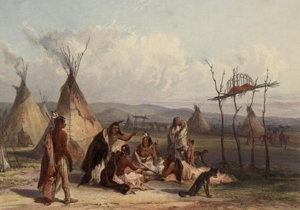 'Funeral scaffold of a Sioux chief' by Karl Bodmer.
