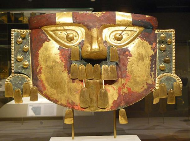 Funerary Mask Sican (Lambayeque), Peru. 9th-11th century Hammered gold cinnabar copper overlays.