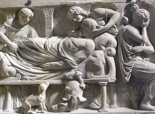 Funerary relief entitled The Death of Meleager Roman 2nd century CE Marble.