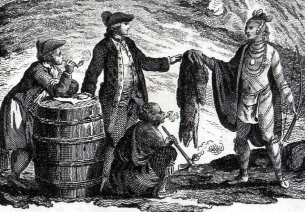 Fur traders in Canada, trading with Indians (1777). (Public Domain)