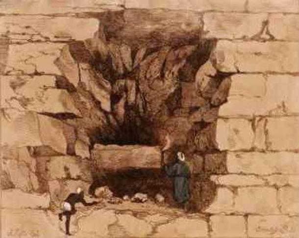 G.B. Belzoni, Forced Passage into the Second Pyramid of Ghizeh, 1820, hand-colored etching.
