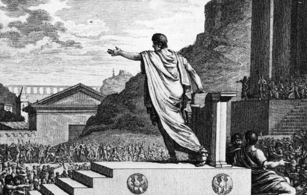 Gaius Gracchus, tribune of the people, presiding over the Plebeian Council.