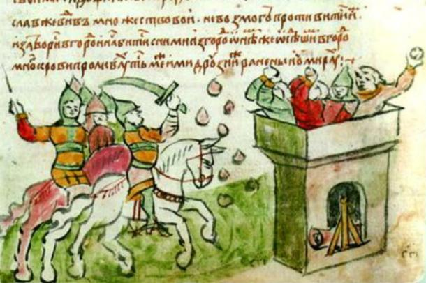 Illustration of a battle from the Galician-Volhynian Chronicle.