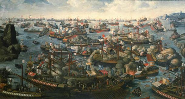 Galleys fighting in the Battle of Lepanto (1571), by an unknown artist, National Maritime Museum, Greenwich, London.