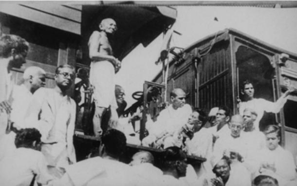 Gandhi visiting Madras (now Chennai) in 1933 on an India-wide tour for Harijan causes. His speeches and writings during these tours discussed the discriminated castes of India.