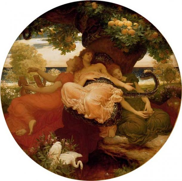 The Garden of Hesperides, guarded by the serpent.