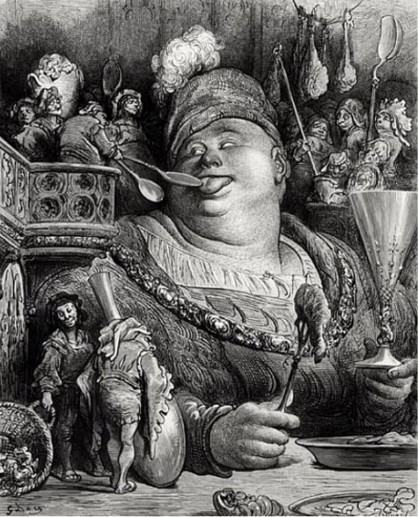 Gargantua's meal, by Gustave Doré. Gargantua is a giant, a character of Rabelais.