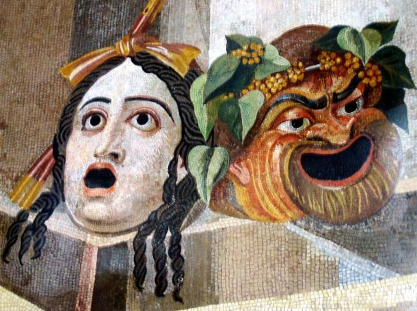 Mosaic, shown Gargoyles in form of Theatrical masks of Tragedy and Comedy.