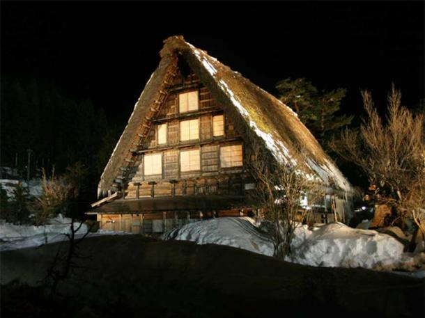 Gassho style house designed for silkworm breeding, Shirakawa-go, Japan.