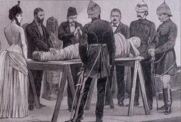Gaston Maspero working on a mummy in Cairo, 1886.