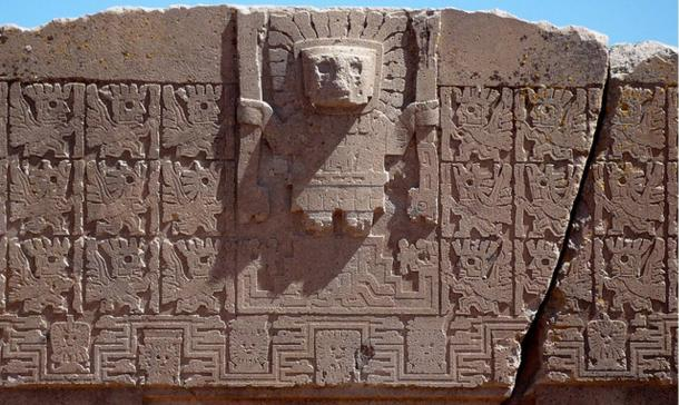 Detail, Gateway of the Sun, Tiahuanaco. This topmost relief is on a single block of Andesite stone weighing 10 tons.