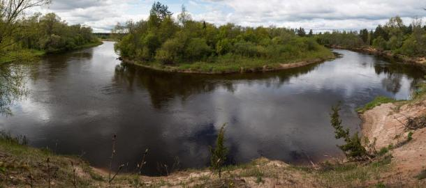 Panoramic view of the Gauja River, said to be the source of the healing waters at Gutmana Ala cave.