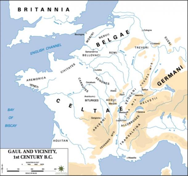 Gaul in the 1st century BC, showing the territory of the Allobroge