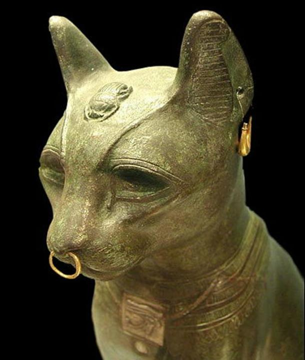The so called 'Gayer Anderson' cat. A late period bronze cat in the form of the goddess Bastet. Jewelry is ancient but not necessarily original to this piece.