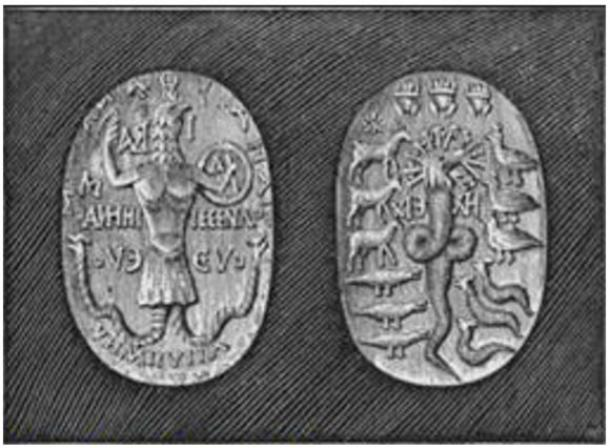 Gemstone carved with Abraxas, obverse and reverse.
