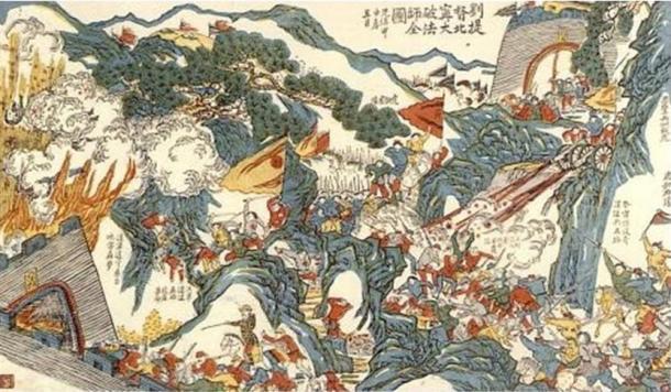 General Liu Yongfu fighting the French in the Sino-French War. (1884)