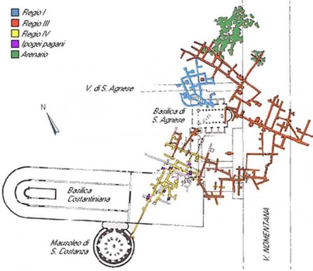 General Plan of the Catacombs of Saint Agnes.