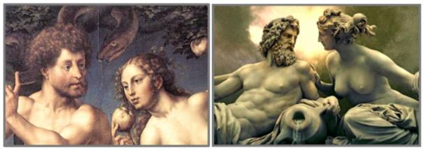 Genesis names the first couple in the ancient garden Adam and Eve . . . the Greeks called them Zeus and Hera. Left: Adam and Eve in Paradise by Jan Gossaert, 1527. Right: Zeus and Hera by Josef Tautenhayn, Austrian Parliament Building, Vienna (Public Domain).
