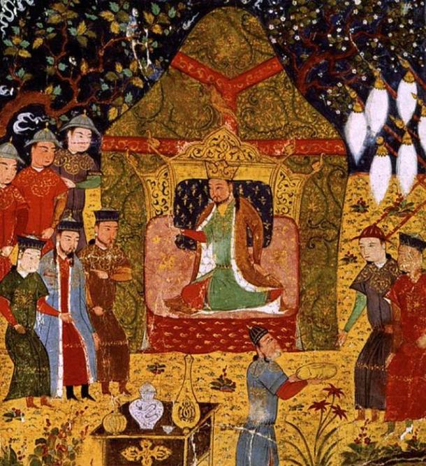 Genghis Khan seated in the center and Jochi standing in the left. (Public Domain)