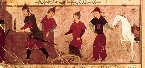 Genghis Khan with three of his four sons. (Public Domain)