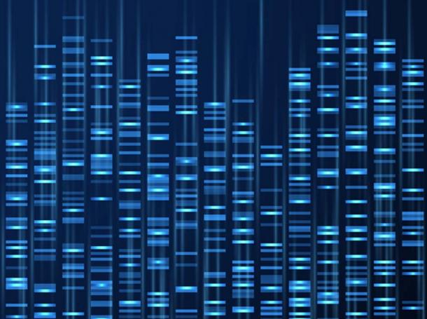 Genomic data visualization. DNA genome sequence, medical genetic map. (MicroOne / Adobe)