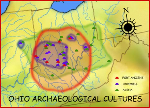 Geographic distribution of the Adena (800 BC–100 AD), Hopewell (200 BC–500 AD), and Fort Ancient (1000–1750 AD) cultures. (CC BY-SA 3.0)