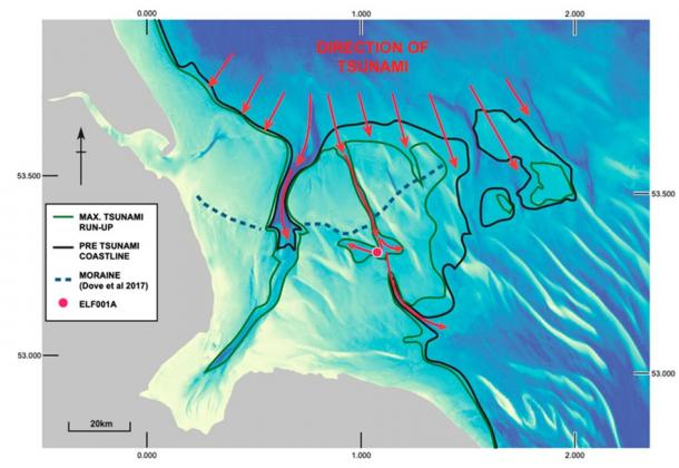 Geomorphological reconstruction of the palaeolandscape off the east coast of England c. 8.2 ka cal BP. Coastline reconstruction at 8.2 ka cal BP and inferred direction of tsunami advance following the modelling of Hill et al.