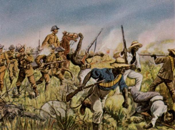 German Schutztruppe in combat with the Herero in a painting by Richard Knötel.