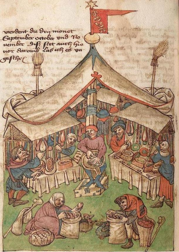 German manuscript illustration from the 15th century depicting market stalls, such as those located in Odense, Denmark.