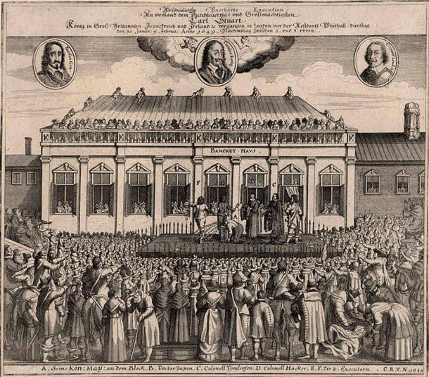 Contemporary German print of Henrietta's father Charles I's beheading.