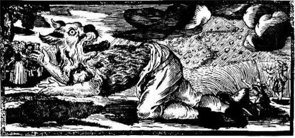 German woodcut of a werewolf transformation (1722)