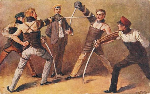 German students of a Burschenschaft fighting a saber duel, around 1900, painting by Georg Mühlberg (1863–1925) (Public Domain)