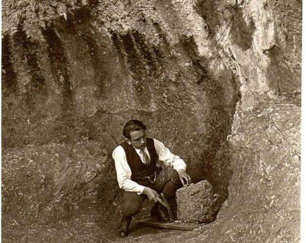 German amateur archaeologist Hermann Mohn at the Neanderthal hunting camp in the Swabian Alps' which he  discovered in 1928 (University of Tübingen)