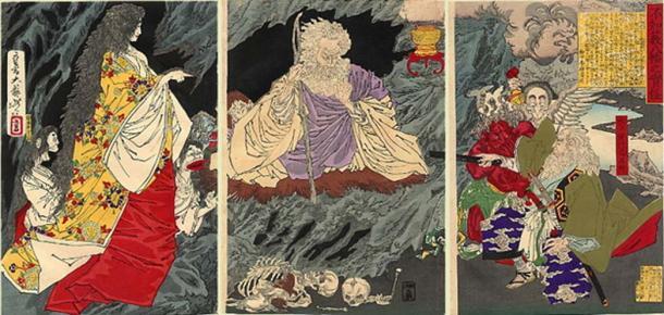 The Ghost by Tsukioka Yoshitoshi The print depicts Mitokomon Mitsukuni-ko defeating a ghost in Yahata