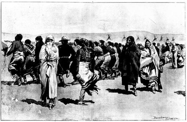 The Ghost dance by the Oglala Lakota at Pine Ridge Agency-Drawn by Frederic Remington from sketches taken on the spot.